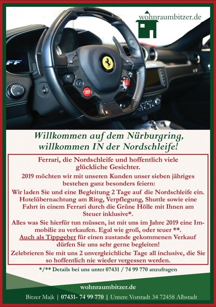 Ferrari Fahren Nordschleife,Machen Sie Ihren Immobilienverkauf mit Ihrem Immobilienmakler wohnraumbitzer unvergesslich.Bitzer Immobilien Ebingen,Bitzer Majk